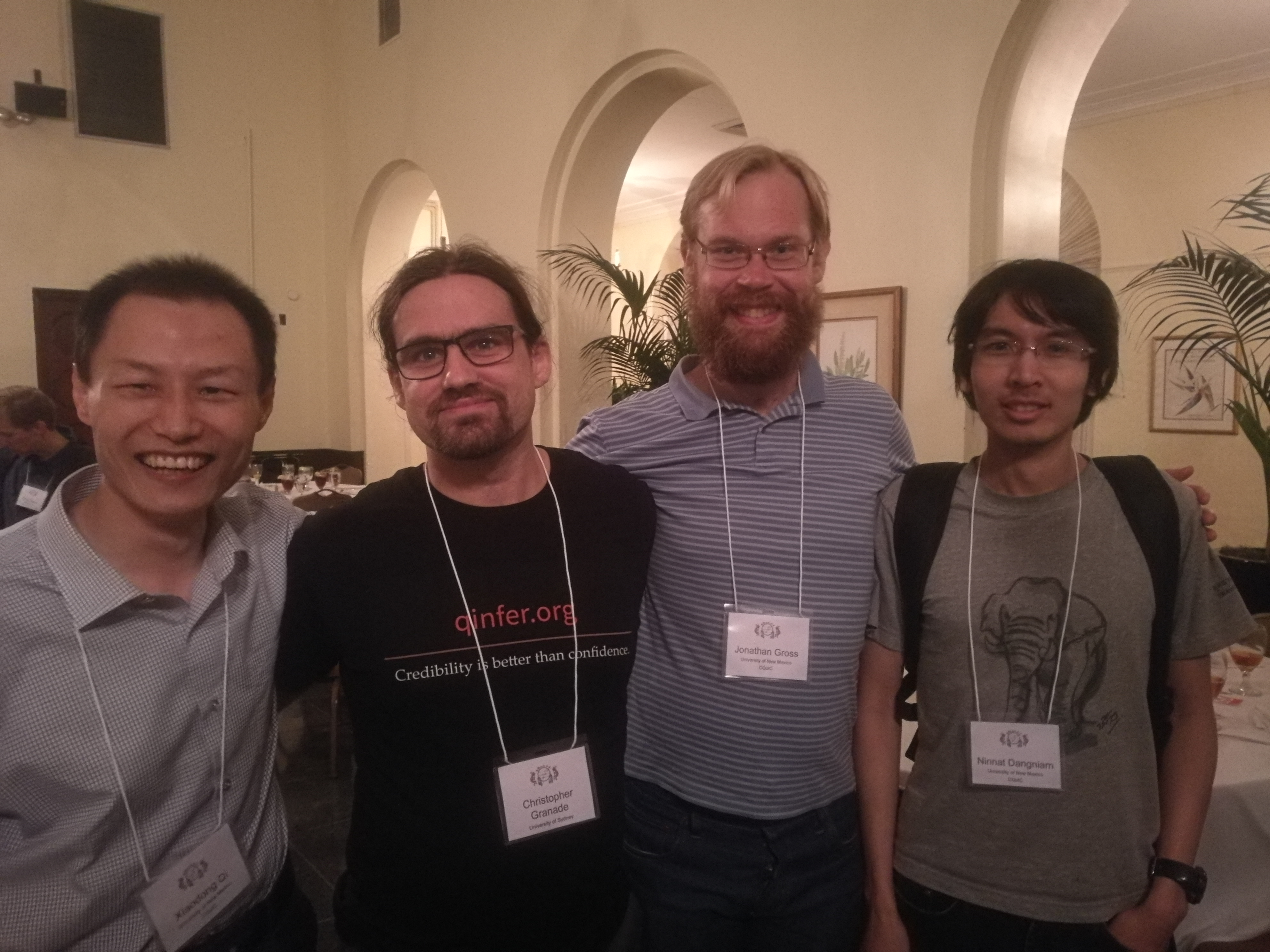 QInfer and JuliaQuantum meetup--left to right are Xiaodong Qi, Christopher Granade, Jonathan Gross and CQuIC fellow Ninnat Dangniam.